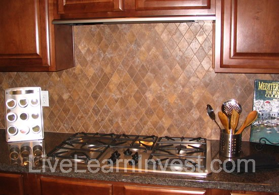 Simply changing your backsplash kitchen tile backsplash granite countertop diamond pattern 1