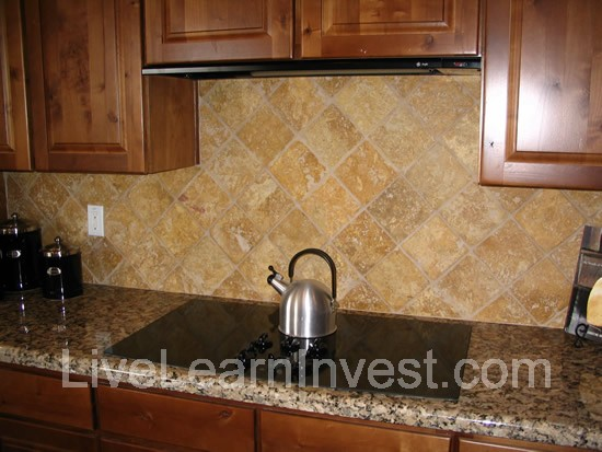 kitchen tile backsplash granite countertop diamond pattern